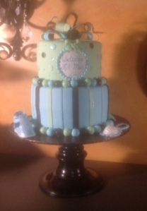 A baby boy shower cake.